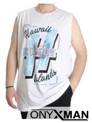 Свежа лятна тениска без ръкави в бяло с Големи Размери