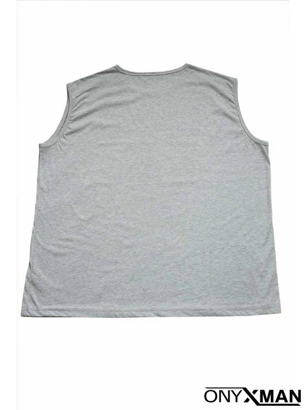 Свежа лятна тениска без ръкави в сиво с принт
