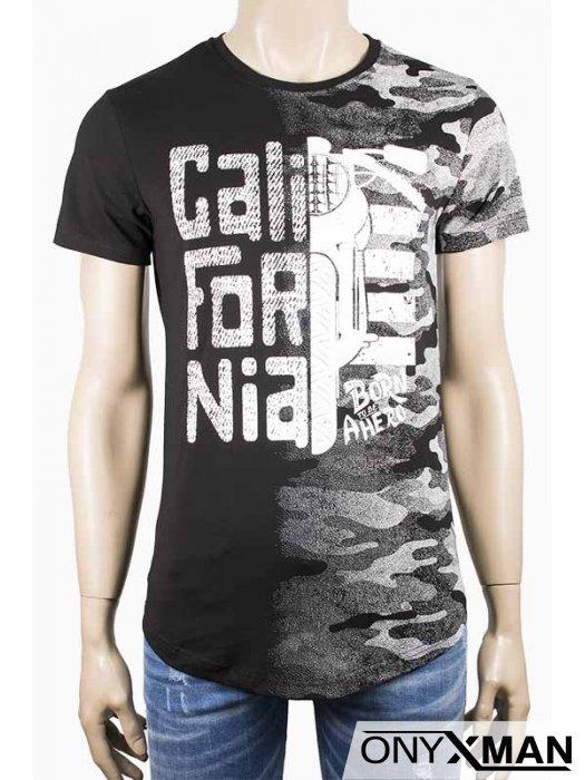 Мъжка тениска в черно с мотор