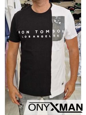 Модерна тениска в черен цвят