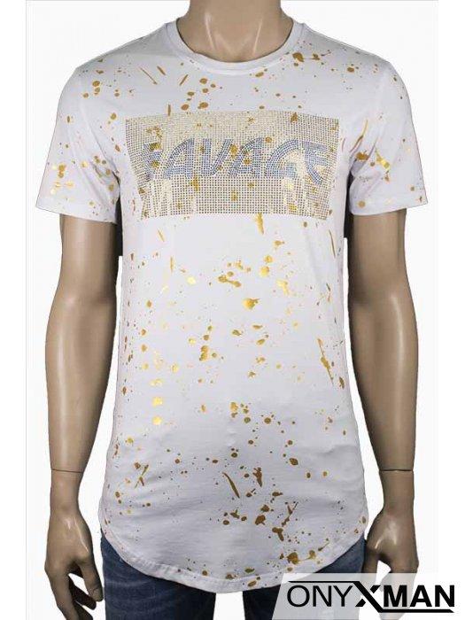 Тениска в бяло с камъни и златисти пръски