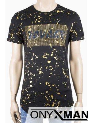 Тениска в черно с камъни и златисти пръски