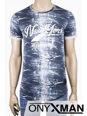 Тениска с емблема в синьо