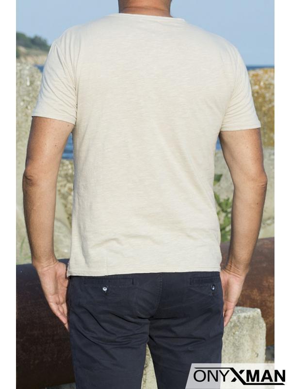 Лятна мъжка тениска Листа в бежово