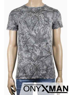 Лятна мъжка тениска Листа в сиво