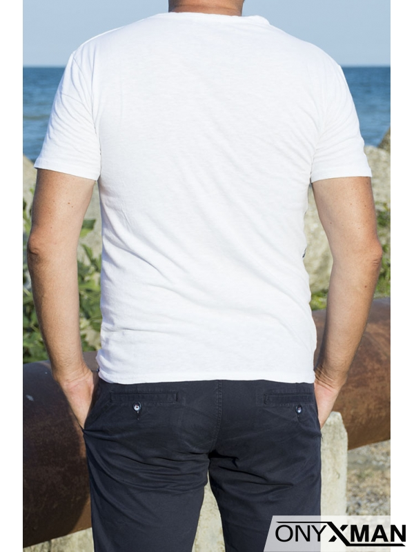 Лятна мъжка тениска Листа в бяло