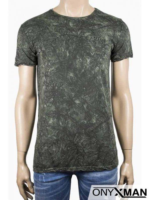 Лятна мъжка тениска Листа в тъмно зелено