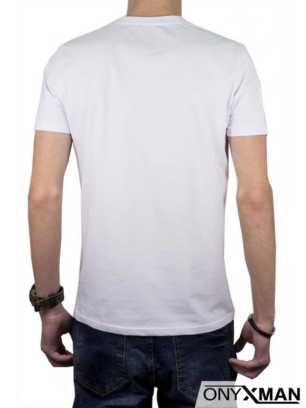 Бяла мъжка тениска с череп и камъни