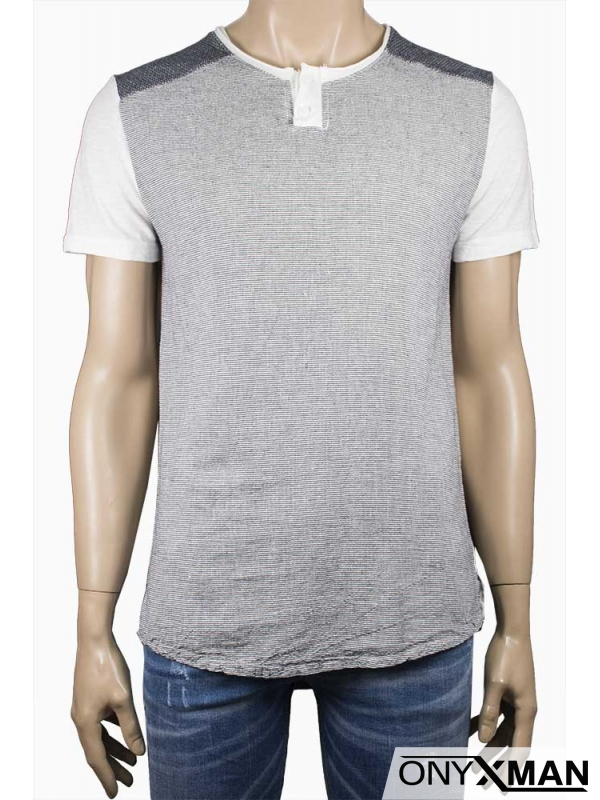 Мъжка ленена тениска в сиво