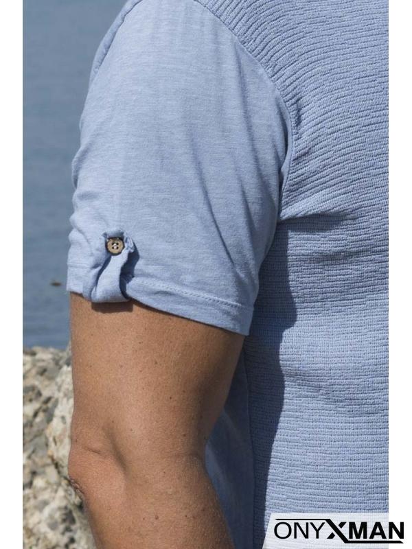 Мъжка ленена тениска в синьо с декоративни копчета