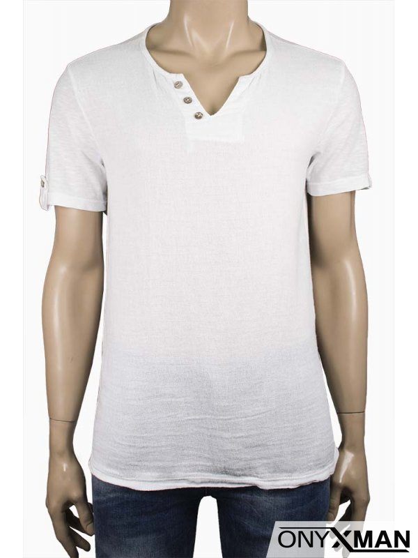 Мъжка ленена тениска в тъмно синьо с декоративни копчета