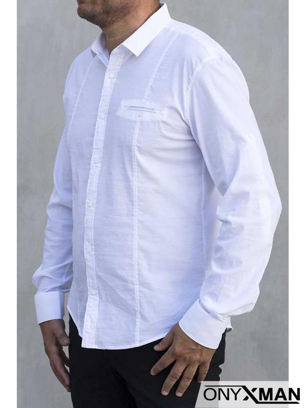 Изчистена мъжка риза в бял цвят