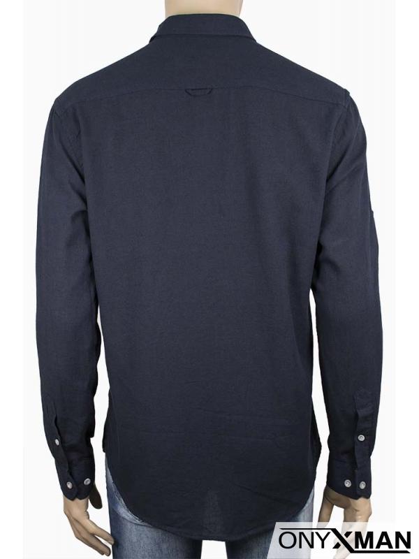 Изчистена мъжка риза в тъмно син цвят