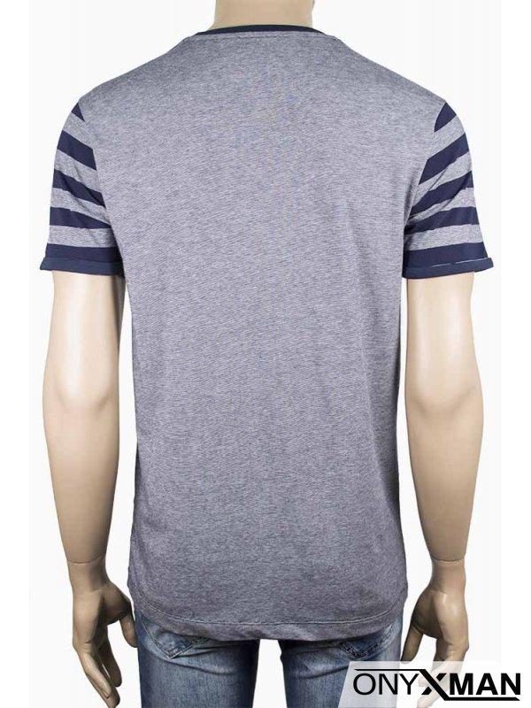 Мъжка тениска с ръкави на райета