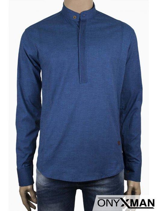 Стилна мъжка риза със столче яка в синьо