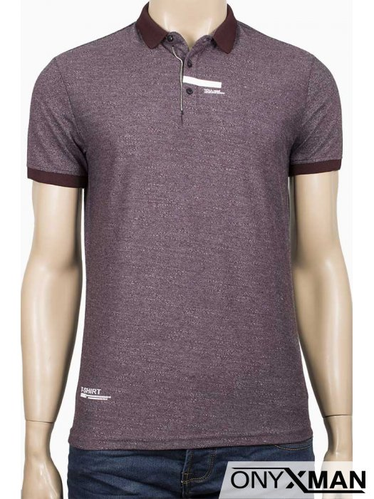 Вталена тениска с яка в бордо