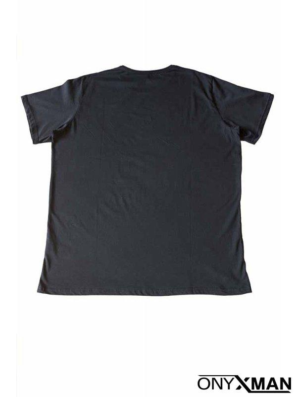 Макси тениска в тъмно син цвят
