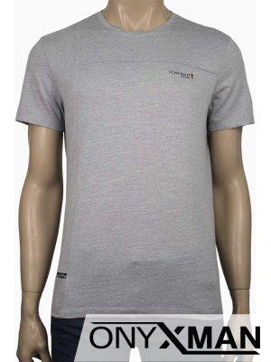 Тениска с надпис Ican do it в светло сиво