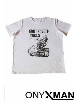 Тениска в бял цвят с щампа мотор Големи Размери
