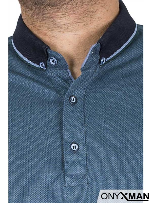 Мъжка блуза в синьо-зелено с якичка