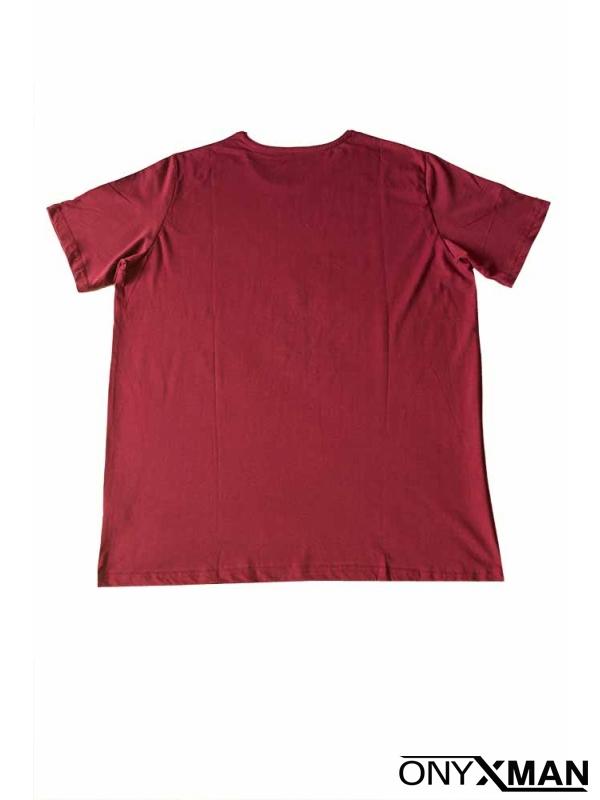 Макси тениска в цвят бордо
