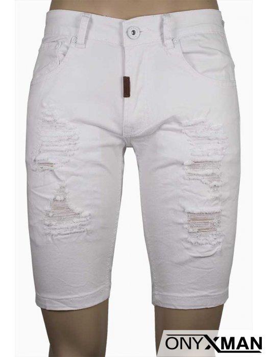 Къс дънков панталон в бял цвят с кръпки