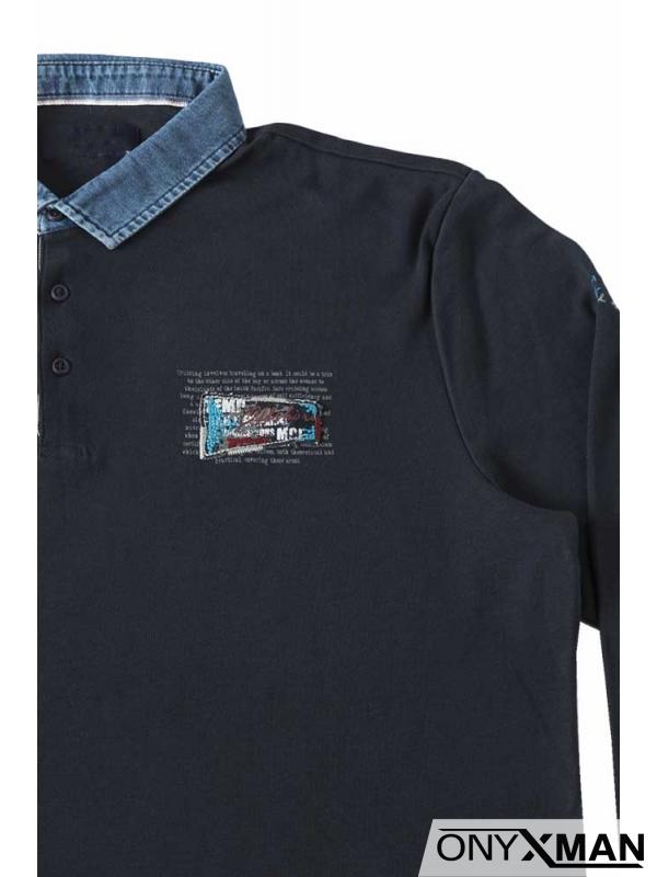 Стилна мъжка блуза с яка (големи размери)