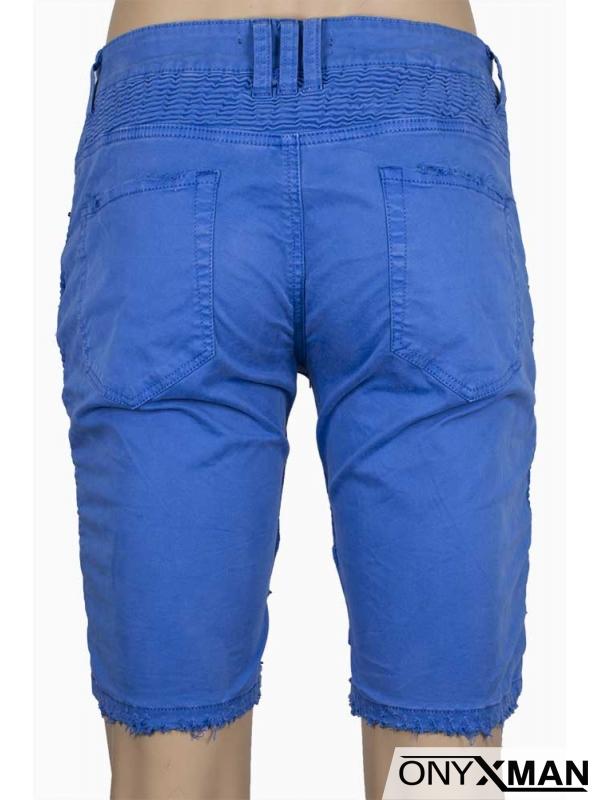 Къс син панталон с два ципа