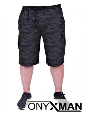 Къс МАКСИ спортен панталон с камуфлажен десен в черно