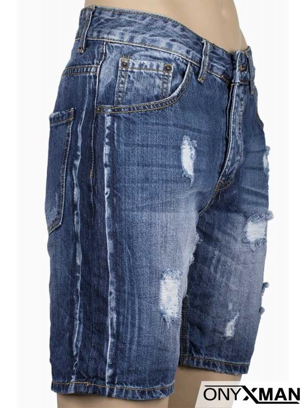 Мъжки къси дънки с кръпки и страничен кант