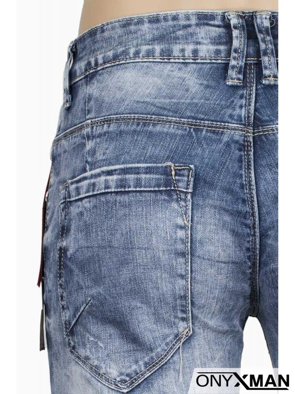 Къси мъжки дънки с ключодържател