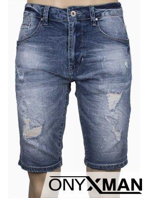 Къс дънков панталон с бял кант