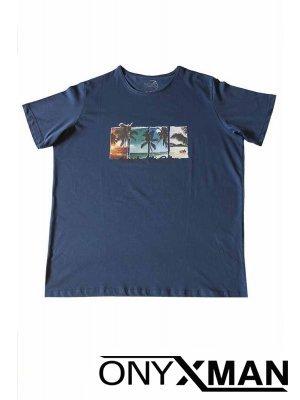 Тениска в индиго син цвят с щампа палми Големи Размери