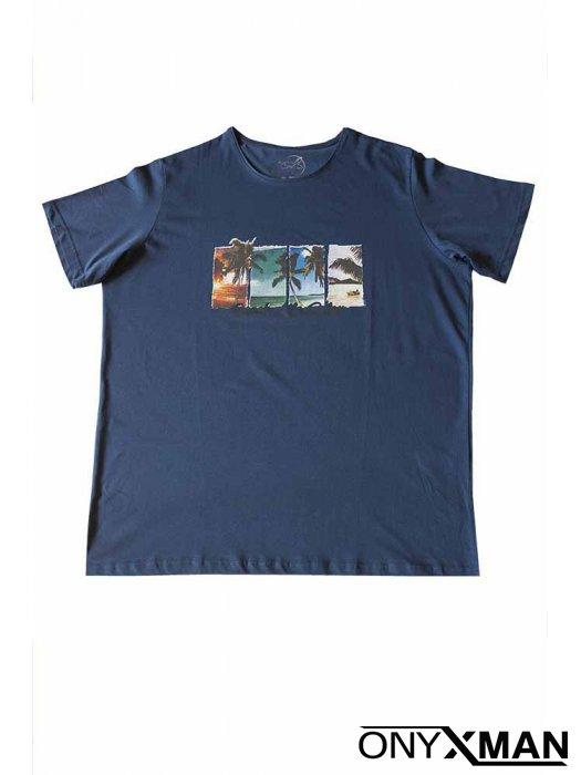 Макси тениска в индиго син цвят