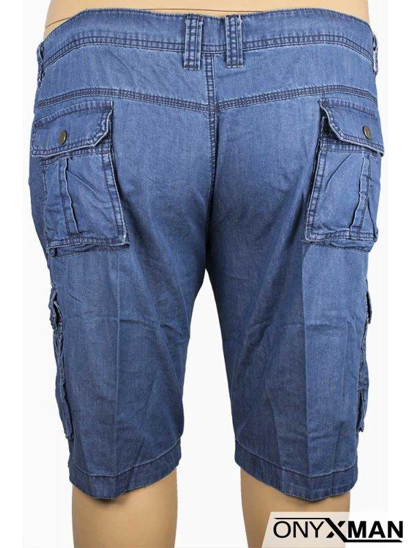 Къси мъжки дънки със странични джобове (Големи размери)