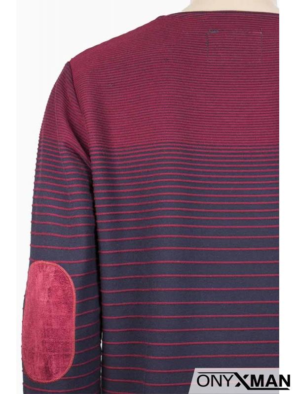 Мъжка блуза в бордо с райета