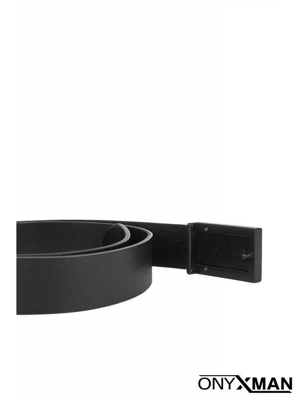 Мъжки колан с черна метална тока