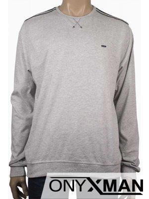Стилна мъжка блуза в светло сив цвят Големи Размери