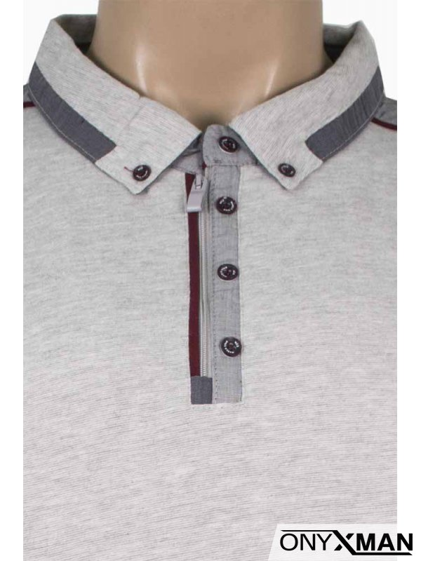 Мъжка блуза с якичка и цип в светло сиво