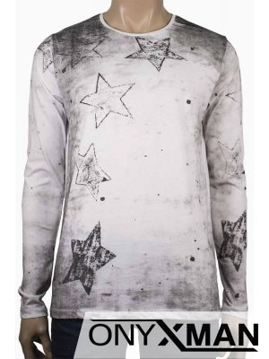 Мъжка бяла трикотажна блуза Звезди