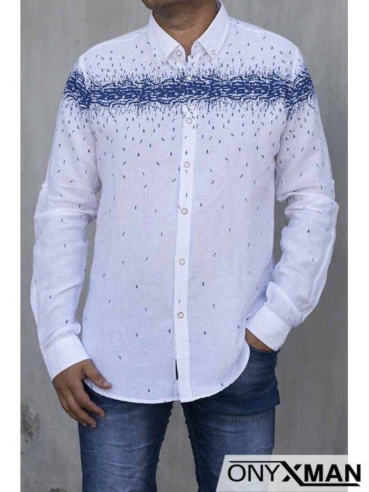 Мъжка ленена риза с дълъг ръкав в бяло