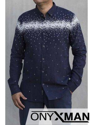 Мъжка ленена риза в тъмно син цвят