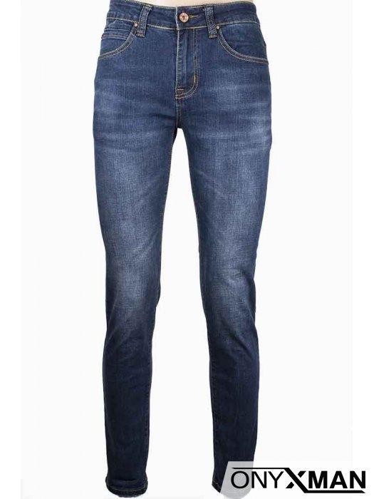 Класически сини дънки от еластичен деним