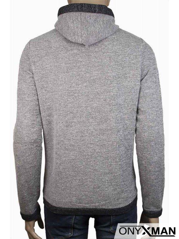 Мъжки суичър в светло сиво, тип плетиво