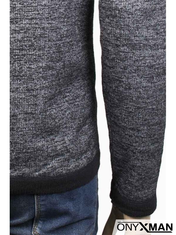 Мъжки суичър в тъмно сиво, тип плетиво