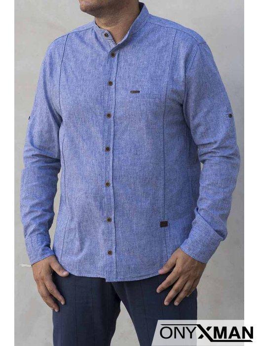 Риза с дълъг ръкав в син деним цвят 2213041