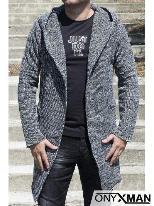 Плътна жилетка с качулка в сиво черен цвят