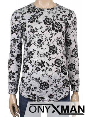 Мъжка блуза с кадифени цветя в светло сиво