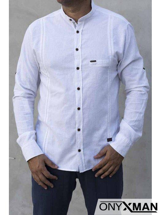 Риза с дълъг ръкав в бяло 2213011