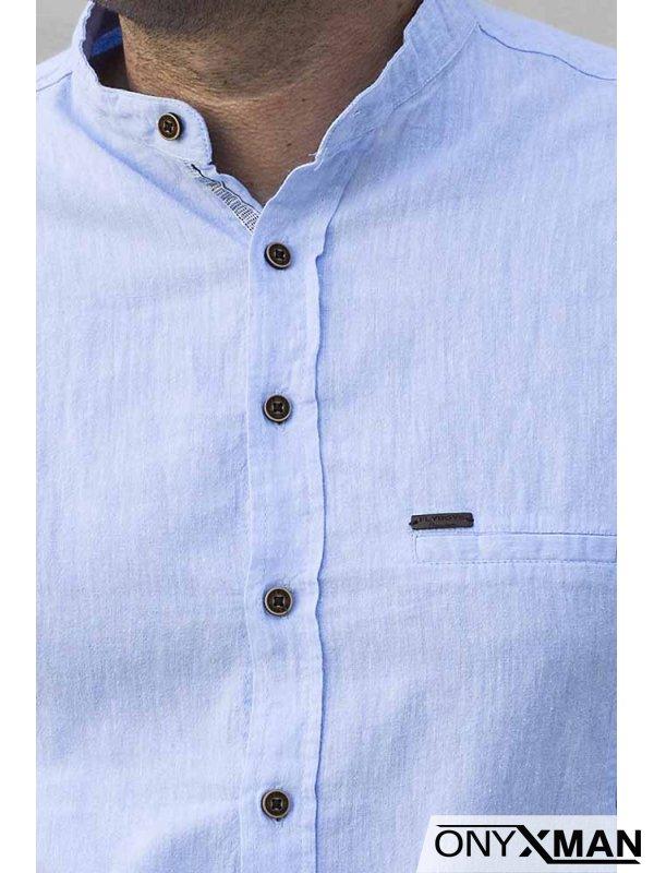 Риза с дълъг ръкав в светло синьо 2213021